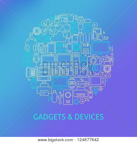 Thin Line Electronics And Gadgets Icons Set Circle Concept