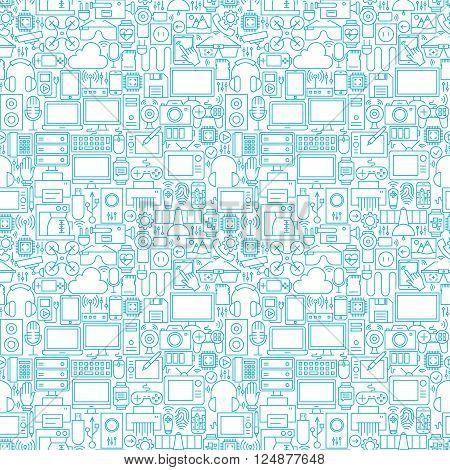 Thin Line Technology Gadgets White Seamless Pattern