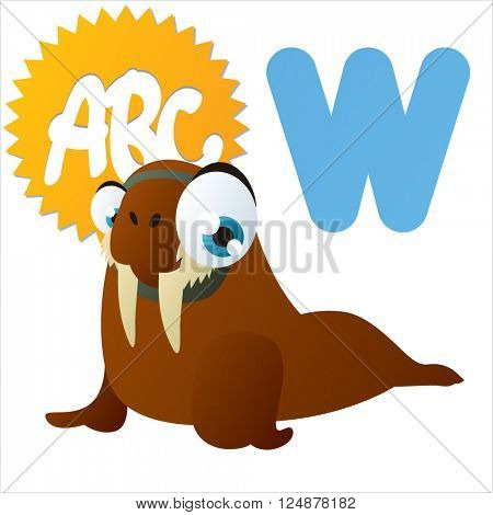 Super funny extra cute animal kids. Animal ABC series. Collectible collection for children games. Letter W  is for Walrus
