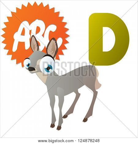 Super funny extra cute animal kids. Animal ABC series. Collectible collection for children games. Letter D  is for Doe