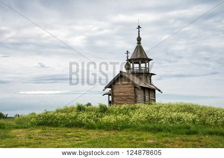 Old wooden church chapel Holy Face Kizhi island Karelia Russia