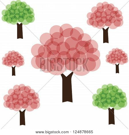 Tree with pink cherryblossom and green color circle style art for spring season on white background vector illustrations