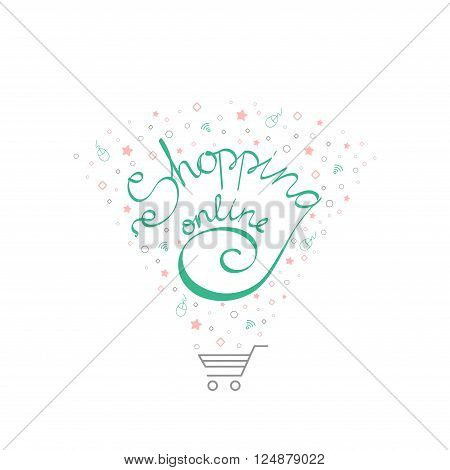 The concept of online shopping with Lettering shopping on-line and shopping cart. Shopping online concept. Vector illustration Isolated on white with Lettering shopping and shopping cart.