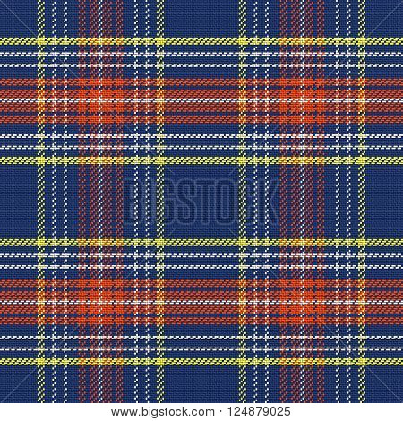 vector seamless pattern Scottish tartan, blue and white, yellow and red