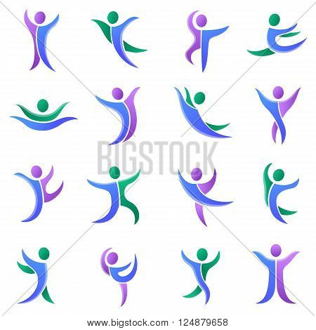 Silhouette different abstract people and abstract silhouette people. Performance silhouette people modern training abstract figure pose. Set of abstract dancers silhouettes vector people illustration.