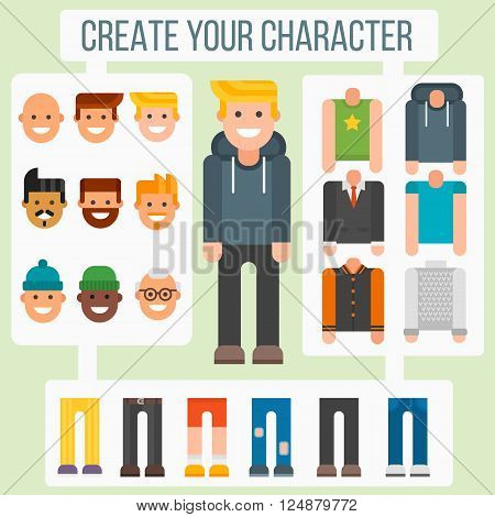 Character elements teenager and flat boy character elements. Character elements body creator web person hipster constructor. Make your flat character elements creator man in different versions vector.