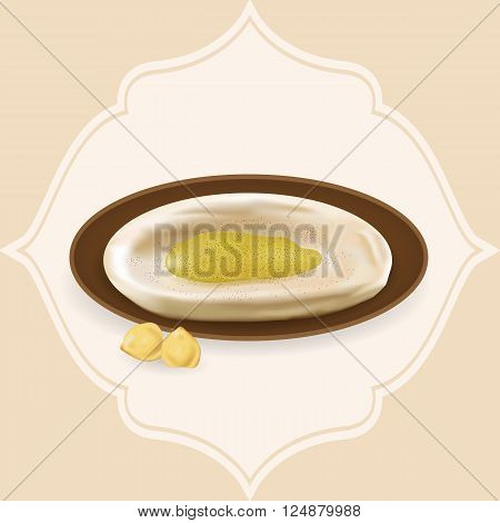 Illustration of hummus with hummus beans with frame.