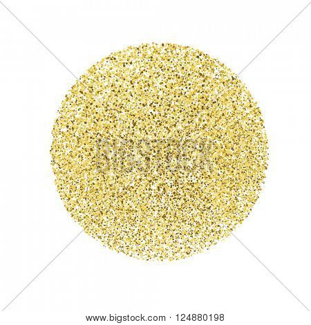 Circle with gold glitter particles on white background. Golden foil effect.