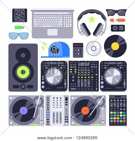 Set dj music equipment and dj music mixer equipment. Technology party nightclub dj music equipment, nightclub mixing turntable volume disc control. Vector set various stylized dj music equipment icon.