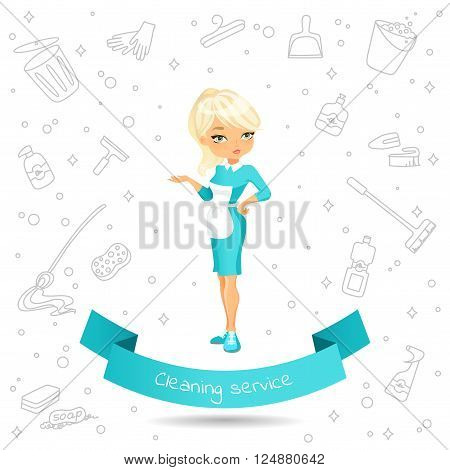 Banner with a ?ute cartoon girl in dress and apron on the background of Doodle products for cleaning. Banner with the inscription on the ribbon Cleaning service. Vector illustration isolated on white