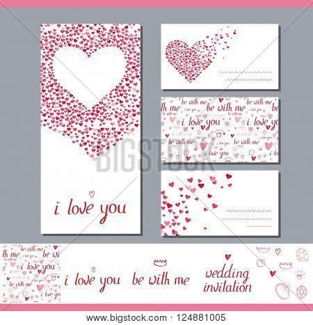 Templates with heart made of small ones.  Phrase Wedding invitation.   Symbols of love  for romantic design,  wedding invitations, advertisement.