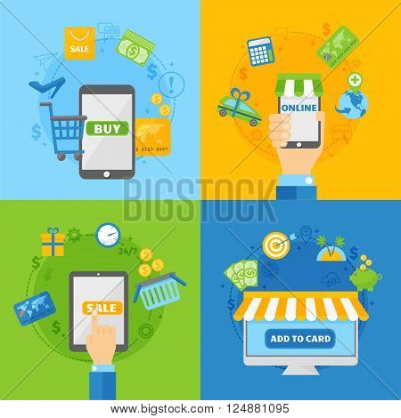 Icons for online payment gateway and mobile online payments, electronic funds transfers and bank wire transfer. Computer shopping concepts of online payment methods flat design vector illustration.