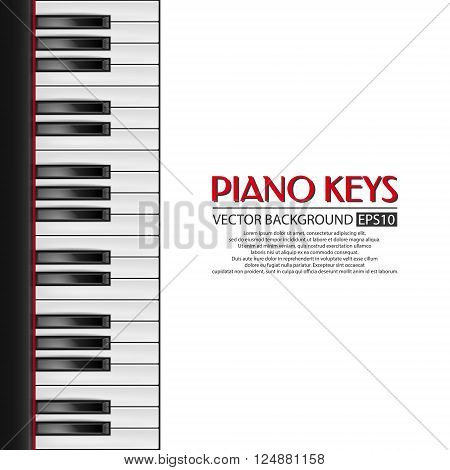 Background with realistic piano keys. Piano design, piano web, piano art, piano app, piano background, piano keys, music background. Vector EPS10 illustration.