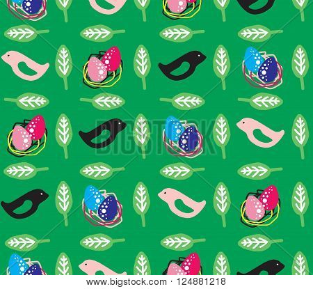 colorful spring birds on green background seamless vector pattern