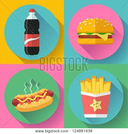 fast food colorful flat design icon set. hamburger, cola, hot dog and french fries. template elements for web and mobile applications