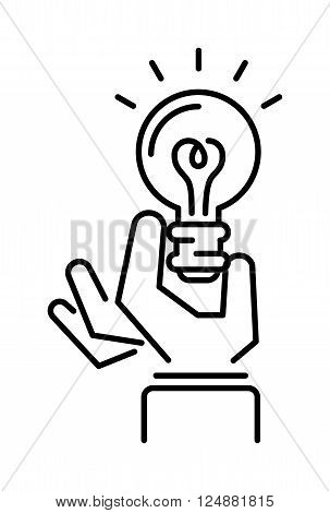 Idea symbol bulb lamp and idea icon concept. Power design lightbulb idea in hand, innovation creativity business idea. Light lamp sign idea icon concept bulb light in hand line art vector illustration