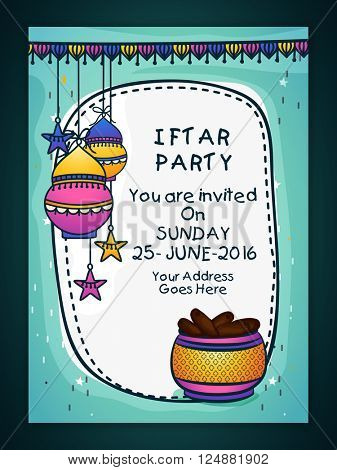 Creative Invitation Card design with colourful hanging lamps, stars and sweet dates for Ramadan Kareem Iftar Party celebration.