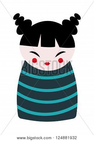 Cartoon chinese doll toy and flat kid chinese doll toy. Traditional chinese doll toy smiling costume character. Chinese doll toy traditional culture china cartoon cute joy flat vector illustration.