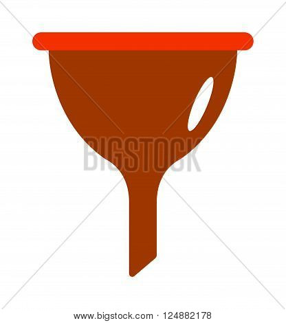 Kitchen funnel plastic tool and household kitchen funnel. Kitchen funnel household equipment handle chemistry funnel tool. Red plastic funnel kitchen tool cone liquid cooking household flat vector.