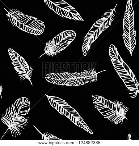 Feather background bird abstract pattern and decoration beautiful feather background. Vintage natural black white soft ornament. Seamless pattern with decorative feather background vector illustration