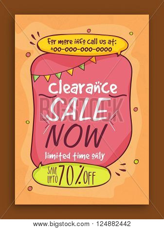 Clearance Sale Poster, Sale Banner, Sale Flyer, Limited Time Only, Upto 70% Discount, Vector illustration.