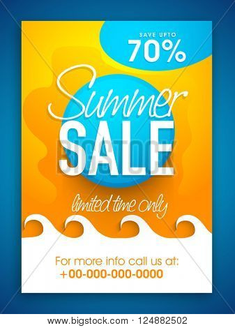 Summer Sale Poster, Sale Banner, Sale Flyer, Save upto 70%  for Limited Time, Vector illustration.