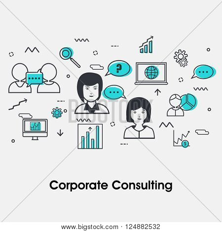 Modern flat style illustration of Business Consulting, Corporate Consulting, Strategic Management, Financial Planning and Office Organization.One page web design template, hero image concept.