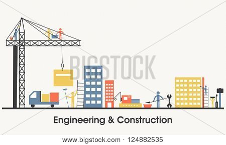 Modern flat style illustration of Engineering and Real Estate Construction Service, Building Architecture with Engineering Solution. One page Web Design template, Hero Image concept,