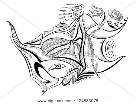 Sperm in abstract style. Outline drawing surreal vector for your design.