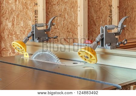 Table saw on a construction site ready to work.