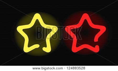 Star neon decoration and illuminated star neon. Star neon shiny element abstract backdrop. Modern shiny stars entertainment. Vector glowing neon stars design night shape decoration illuminated.