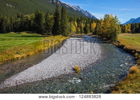The shallow stream among green and yellow grass lawns. Delightful stunning park Banff in the Rocky Mountains of Canada