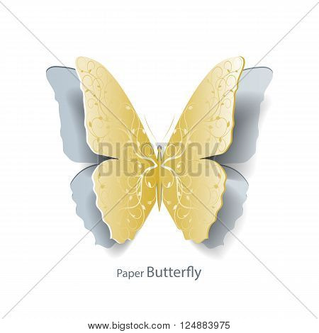 Yellow butterfly with floral pattern cut out of paper on white background. Abstract design. Vector illustration.