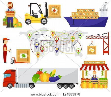 Fresh fruit and vegetables delivery. Fruits delivery natural organic market, fruits transportation vegetables truck delivery. Cartoon green eco food fruits delivery truck vector illustration.