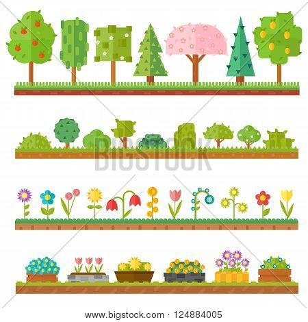 Flat nature plants, green ecology flat plants. Summer green forest elements nature. Trendy and beautiful set of flat plants forest elements include grass, berries, bushes and trees vector illustration