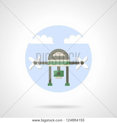 Unmanned aerial vehicle. Drone with camera for surveillance of territory monitoring. Flat color style vector icon. Web design element for site, mobile and business.