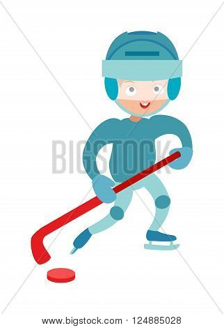 Hockey player boy cute pretty tough confident smiling male vector.
