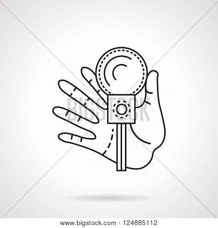 Hand with microphone. Leading parties. Event agency services. Party, festivals and celebrations. Flat line style vector icon. Single design element for website, business.