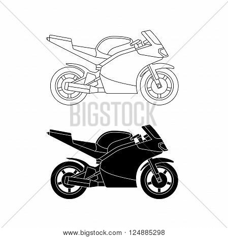Vector line motorcycle. Sport bike silhouette on white background.