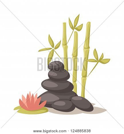 Stone, flower and bamboo and hygiene items for bath spa vector. Bath spa stones aromatherapy organic. Spa stones beauty treatment spa and wellness organic therapy. Health treatment therapy spa stones.