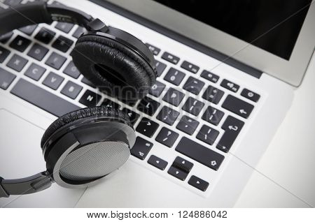 Close Up Of Audio Headset On Laptop