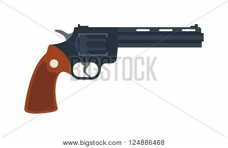 Handgun revolver and military revolver. Revolver security caliber, cowboy wild safety shooter. Old American colt revolver wild west handgun danger crime ammunition or metal protection flat vector.