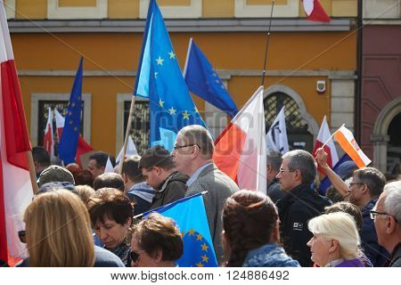 WROCLAW, POLAND - APRIL 03, 2016: Committee for the Defence of Democracy supporters protesting in Wroclaw