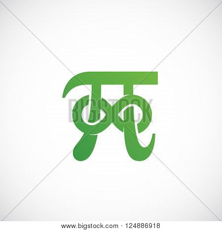 Pi Symbol with Infinity Sign Abstract Vector Icon, Label, Logo or Illustration. Isolated.