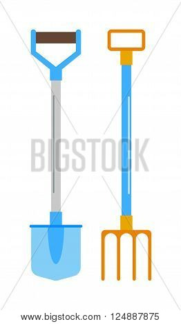 Shovel and rake garden equipment tools, metal shovel and rake with colorful handles. Shovel and rake farming wooden construction trowel. Gardening shovel and rake groundworks tools vector.