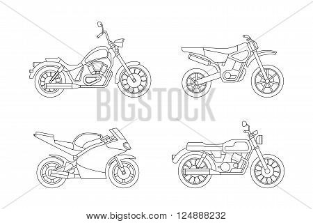 Motorcycle line icons set. Vector illustrations of different type motorcycles.