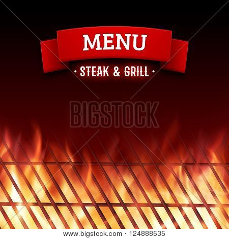Steak and grill house menu. Close-up of BBQ grill and realistic burning fire flames. Vector illustration