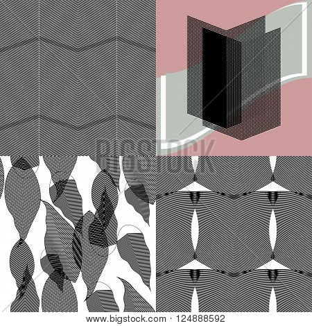 Set of ripple vector illustrations. Modern design for various creative projects