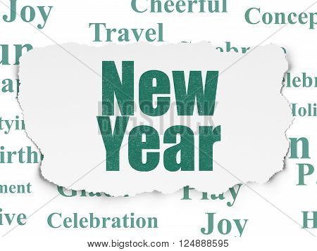 Holiday concept: New Year on Torn Paper background