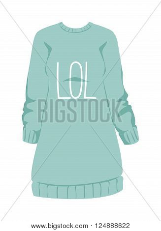 Cotton female sweatshirt and sport sweatshirt female. Young people sweatshirt, women pullover. Female sweatshirt blue style hoodie and warm cotton jumper clothing design flat vector illustration.